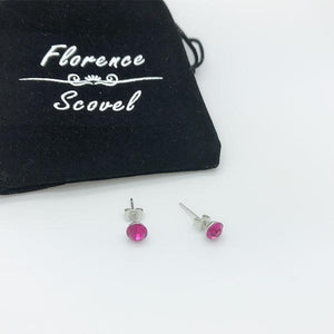 Pink Crystal Alloy with Chromium Plating Studs Butterfly Back