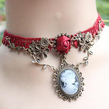 Load image into Gallery viewer, Red Lace Choker Necklace
