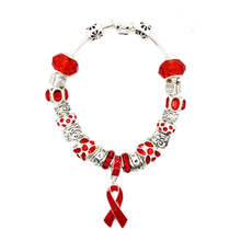 Load image into Gallery viewer, Red Ribbon Awareness Bracelet