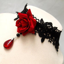 Load image into Gallery viewer, Red Rose Choker 3