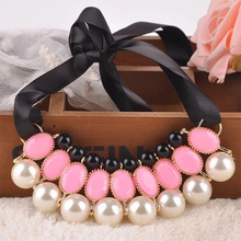 Load image into Gallery viewer, Ribbon Pearl Choker Statement Necklace