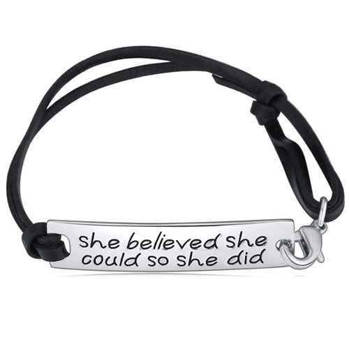 She Believed She Could So She Did Hand Stamped Bracelet 2