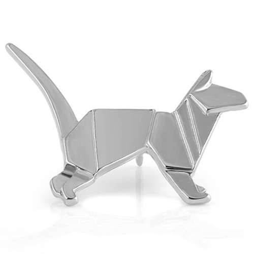 Silver Cat Origami Pin