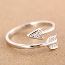 Load image into Gallery viewer, Silver Plated Arrow Crystal Ring 3