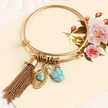 Load image into Gallery viewer, Vintage Turquoise Tassel Bangle 14K Gold Plated