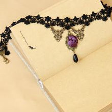 Load image into Gallery viewer, Violet Rose Black Lace Choker