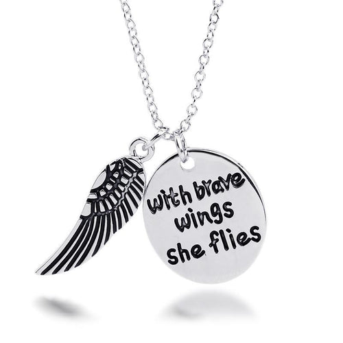 With Brave Wings She Flies Charm Pendant