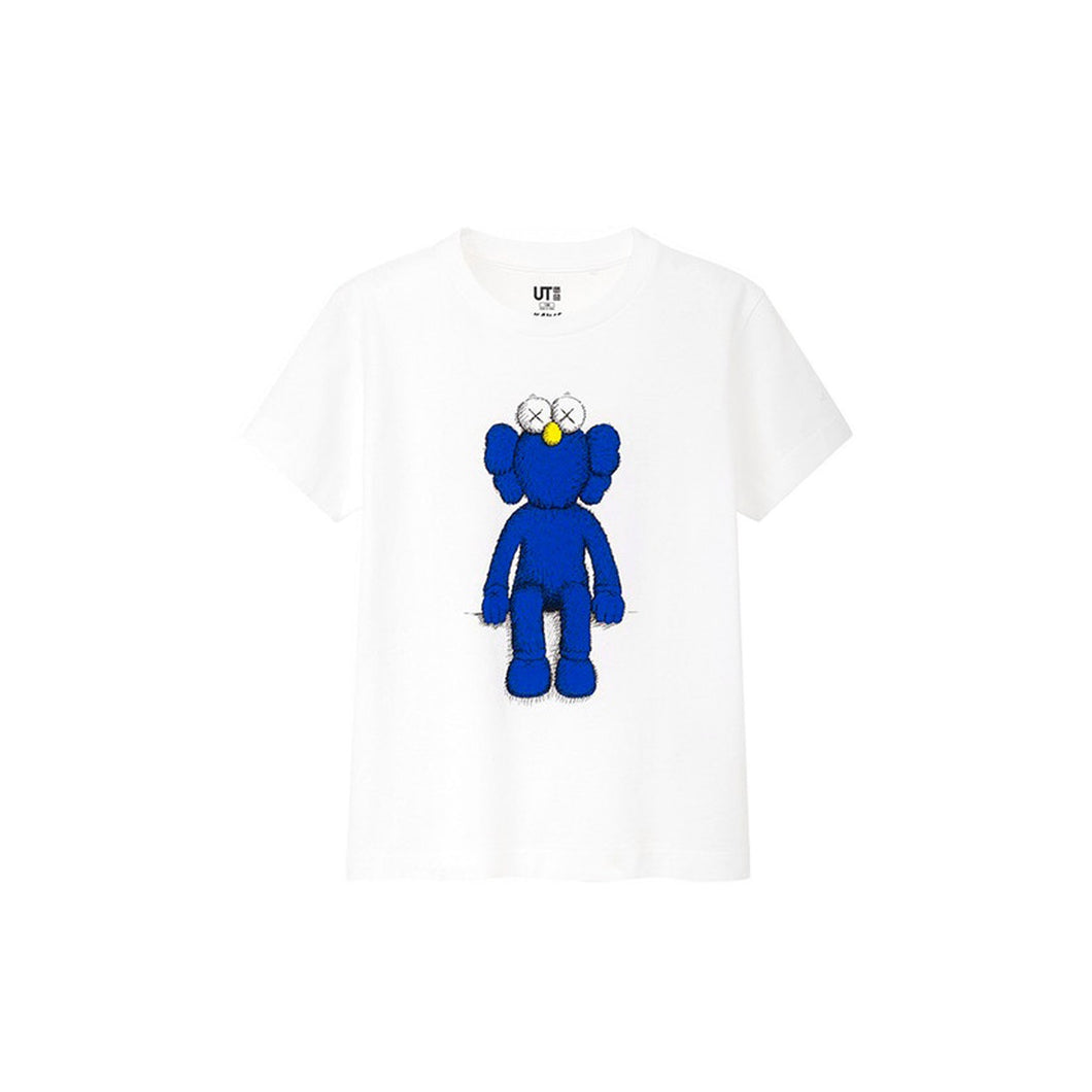 KAWS x Uniqlo Blue BFF Tee (Kids) -White, Clothing- dollarflexclub