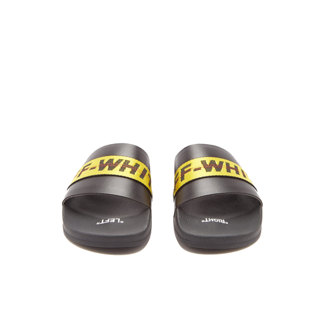 Off White Industrial Belt Strap Rubber Slides, Shoe- dollarflexclub