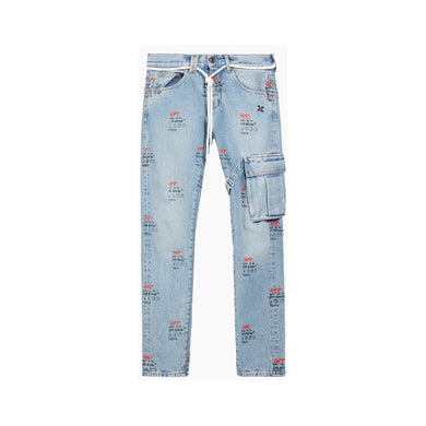 Off-White Straight-leg Logo-print Jeans, Clothing- dollarflexclub