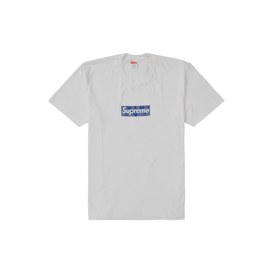 Supreme Bandana Box Logo Tee -White, Clothing- dollarflexclub