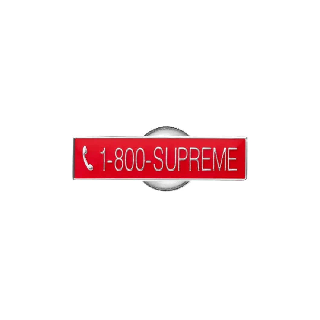 1-800- SUPREME Pin-Red, Accessories- dollarflexclub