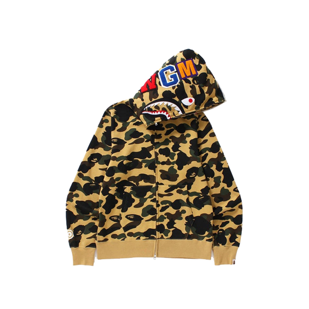 BAPE 1st Camo Shark Full Zip Hoodie Yellow, Clothing- dollarflexclub