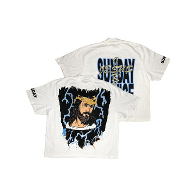 AWGE x Kanye West Jesus is King Lightning Tee, Clothing- dollarflexclub