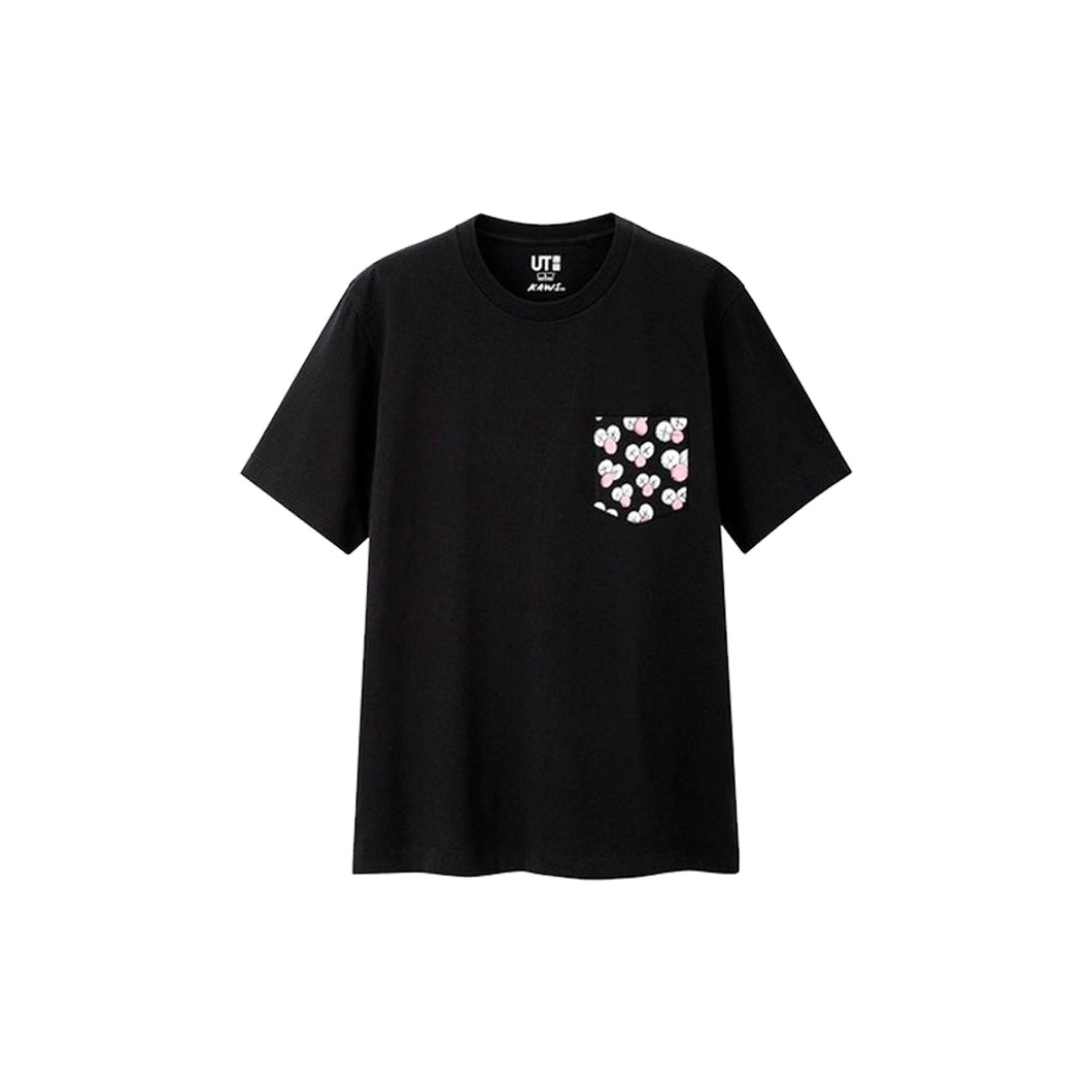 KAWS x Uniqlo BFF Pocket Tee - Black, Clothing- dollarflexclub