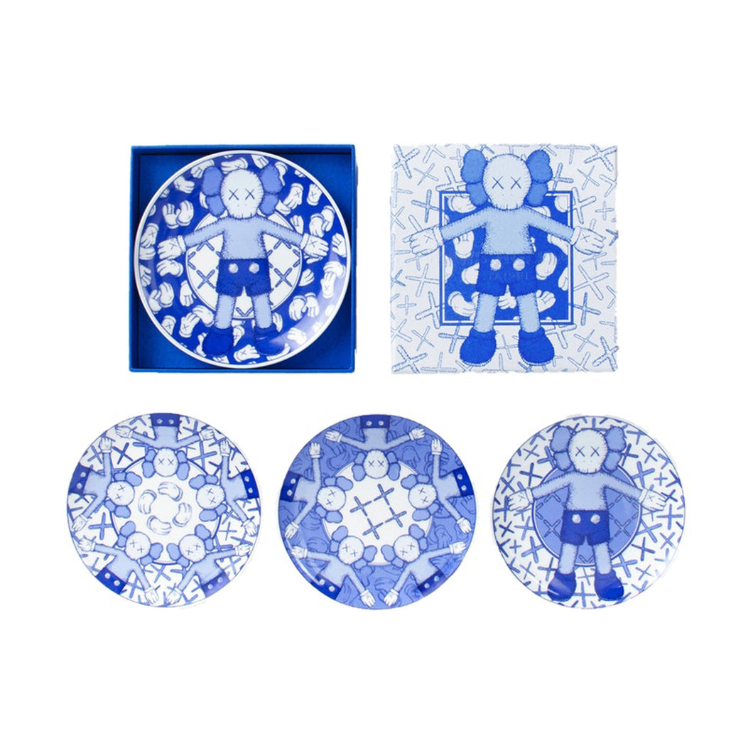 KAWS Holiday Limited Ceramic Plate (Set of 4) Blue/White, Collectibles- dollarflexclub