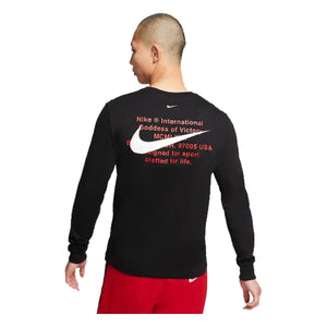 Nike L/S Swoosh T-Shirt-Black, Clothing- dollarflexclub