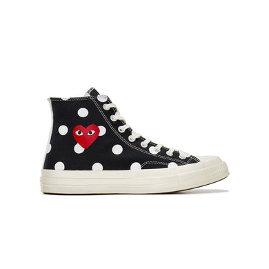 Converse Chuck Taylor All-Star 70s Hi x CDG PLAY -Black Polka Dots, Shoe- dollarflexclub