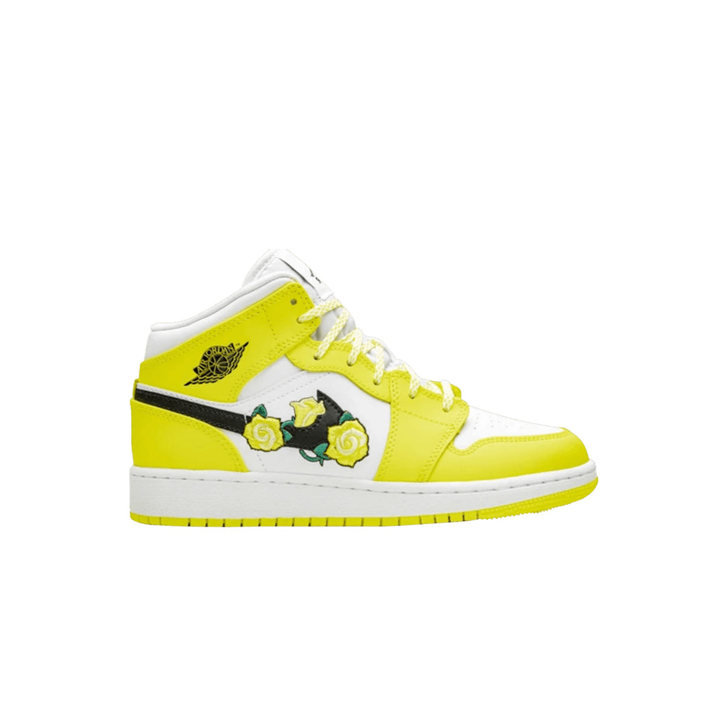 Jordan 1 Mid SE 'Rose Patch - Dynamic Yellow' (GS), Shoe- dollarflexclub