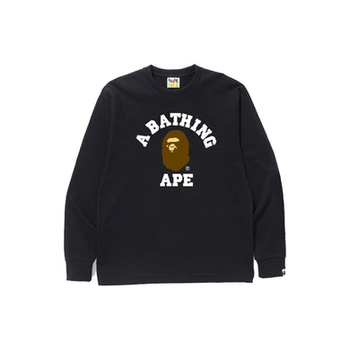 Bape College LS Tee-Black, Clothing- dollarflexclub