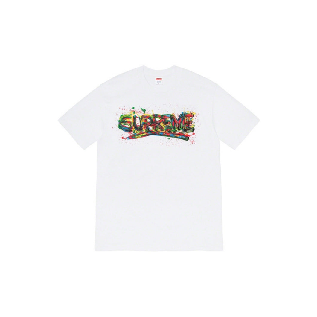 Supreme Paint Logo Tee White, Clothing- dollarflexclub