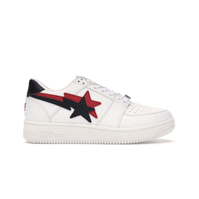 A Bathing Ape Bapesta Low Double Star White, Shoe- dollarflexclub