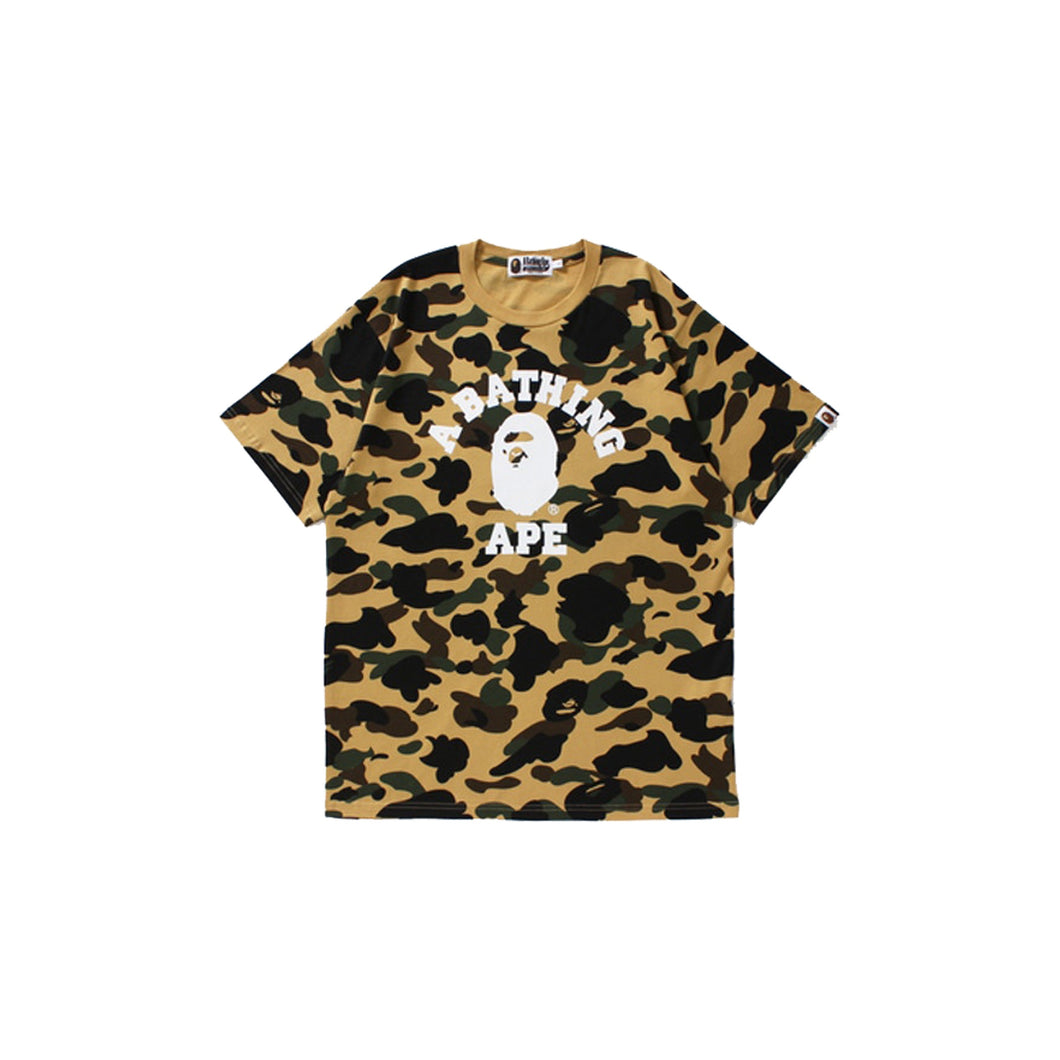Bape Color Camo College Tee-Yellow, Clothing- dollarflexclub