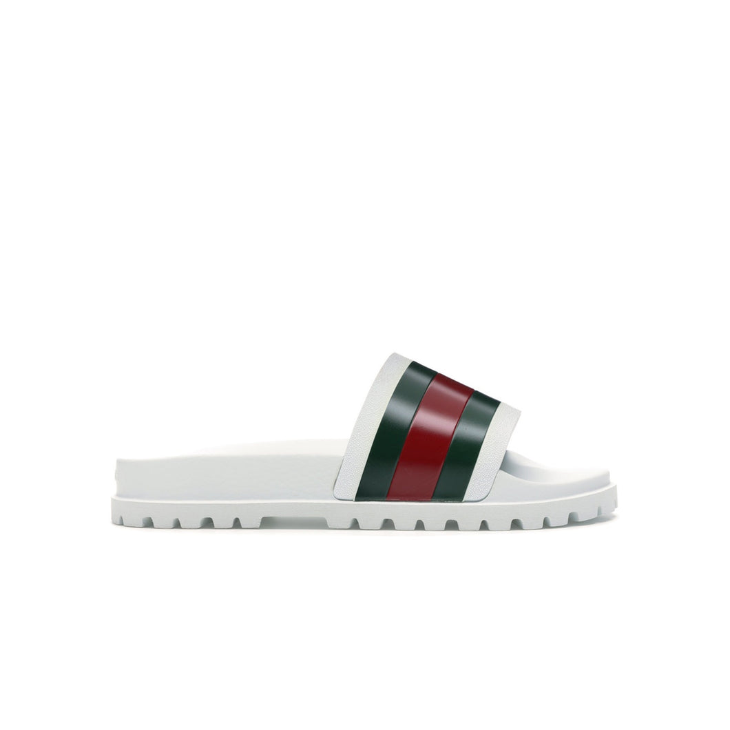 Gucci Web Slide Sandal - White, Shoe- dollarflexclub