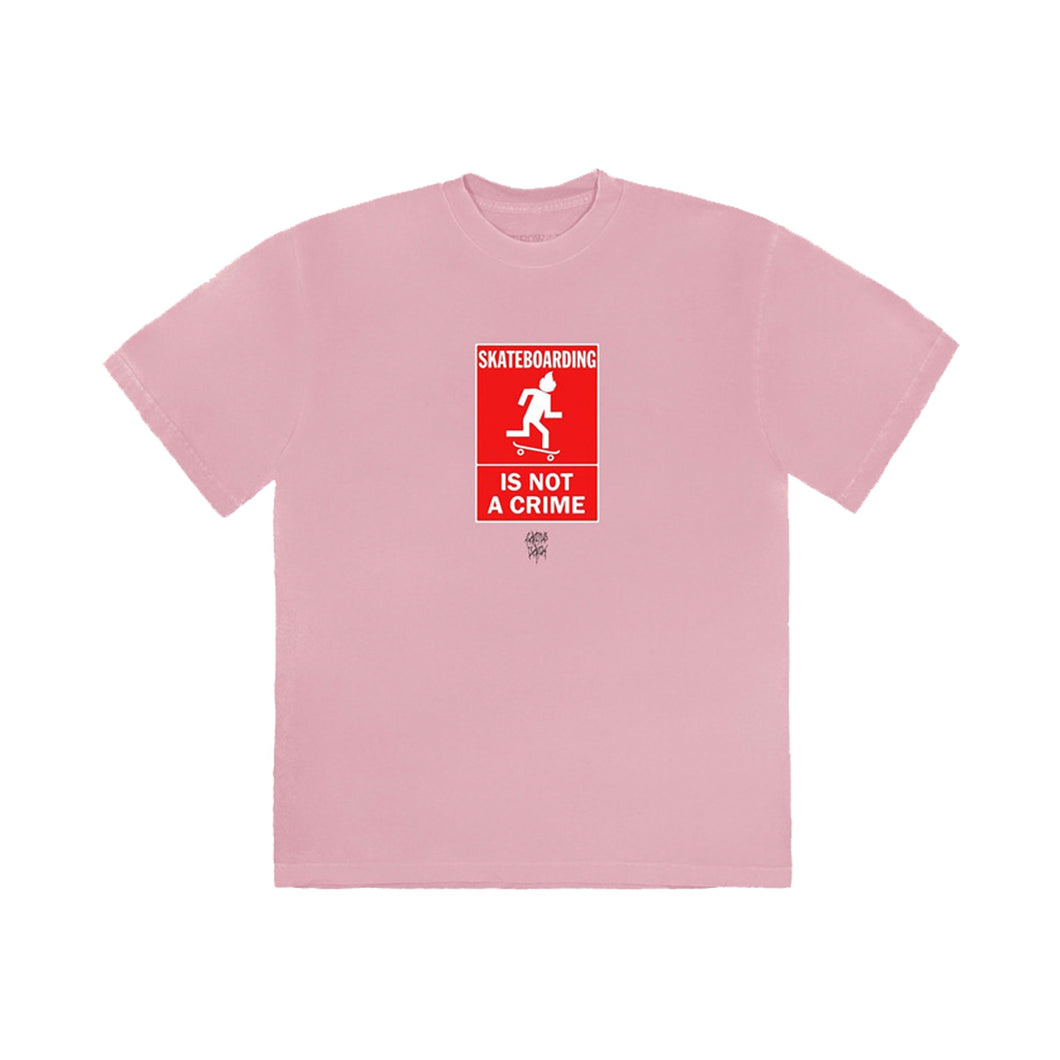 Travis Scott x Nike SB Skating is not a crime Tee pink