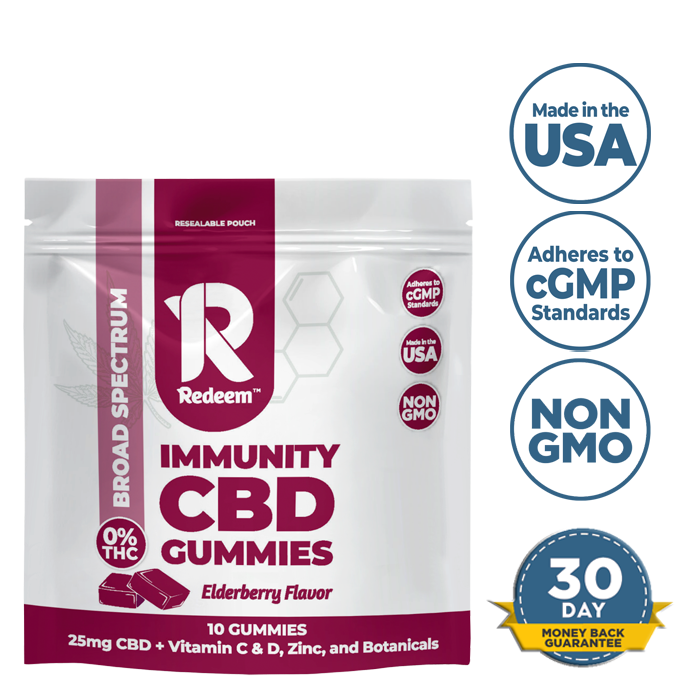 Immunity CBD Gummies - 25mg CBD + Elderberry, Vitamin C & D