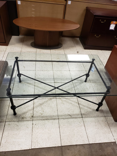 item #495: Glass top cocktail table