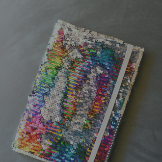 how to make:   Mermaid Sequin Fabric Notebook  June 1, by Larissa Coleman