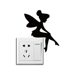 DSU  Cute Fairy Sitting Switch Sticker Cartoon Vinyl Wall Stickers for Kids Room Home Decal