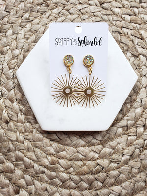 Brass Sun Beam Dangle Earrings