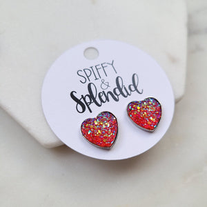 Druzy Heart Earrings (3 colors to choose)