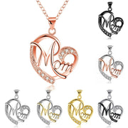 MOM Heart Shape Inlaid Crystal Pendant Necklace