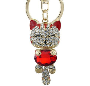 Smile Cat Crystal Red Rhinestone Keyrings Key Chains