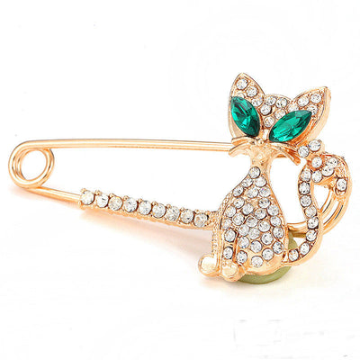 Rhinestone Crystal Green-eyes Cat Brooch  Gold Pin