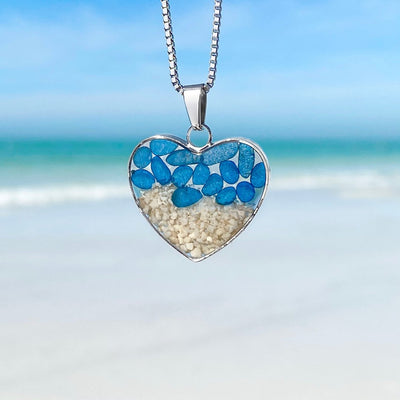Blue Sea Glass Sand Heart Necklace