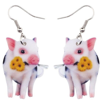 Acrylic Flower Pink Pig Piggy Earrings