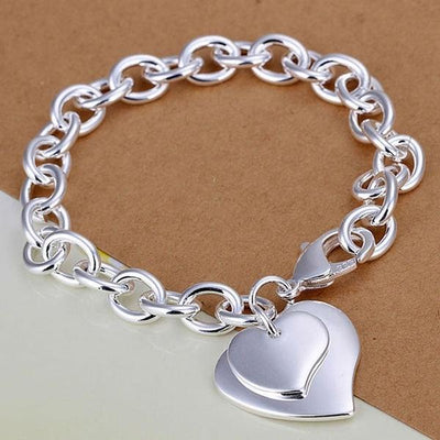 Silver Chain Bracelet with 2 Heart Charms
