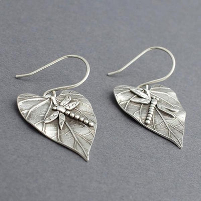 Silver Leaf Dragonfly Wire Earrings
