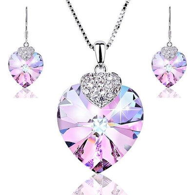 Crystal & Zircon Heart necklace and Earrings