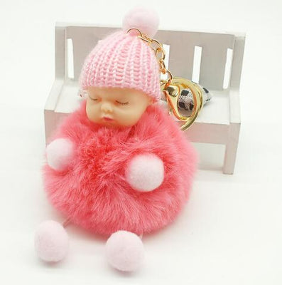Pink Sleeping Baby Doll Key Chain