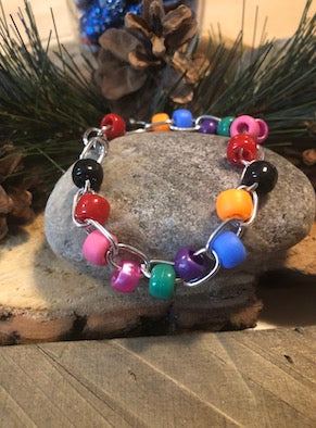 Multi color pony bead and chain bracelet