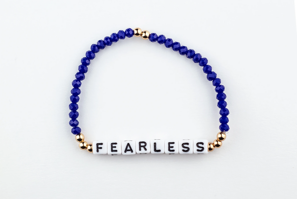 FEARLESS Bracelet-alphabet message gold plated brass Beads and Royal blue Crystal Beads