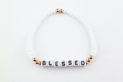 BLESSED Bracelet-alphabet message gold plated brass Beads and white Crystal Beads