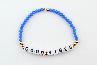 Good Vibes Bracelet-alphabet message gold plated brass Beads and blue Crystal Beads