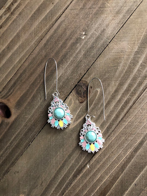 Pastel colors tear drop earrings wire hoop