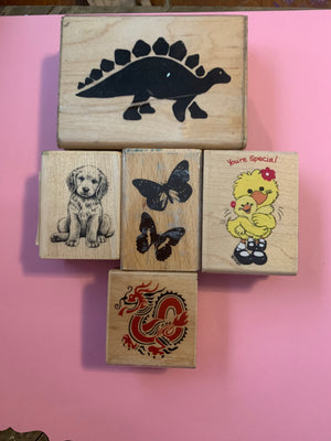Animal Collection 5 Rubber Stamps --Garage Sale--